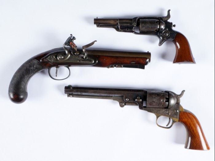 Collection of Pre-Civil War Revolvers and Flint Lock
