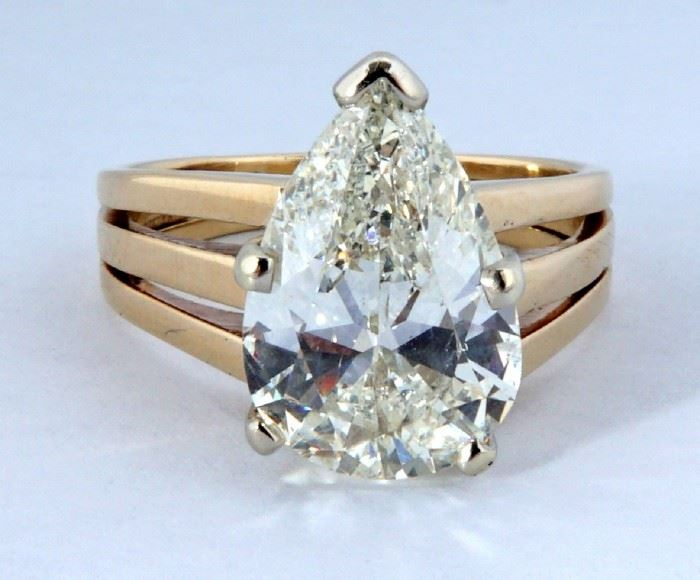 4.49ct Pear Shape Diamond Solitaire Ring