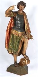 18th C Life Size Carved Polychrome St. Michael