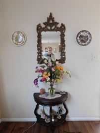 Vintage Ornate Mirror/ Antique French Table