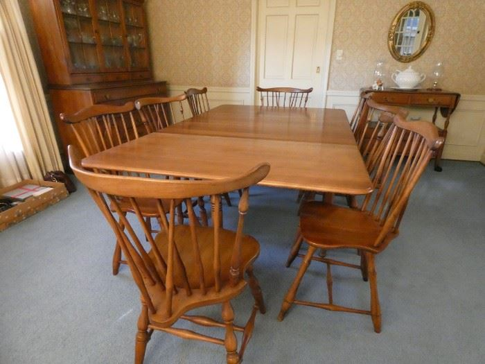 """45"""" X 75"""" Drop Leaf Table with 8 Chairs and (2) 10"""" Leaf"""