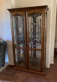 Oak Glass Door China Slender Cabinet Dimensions: (HxWxD in)	79x41x18in