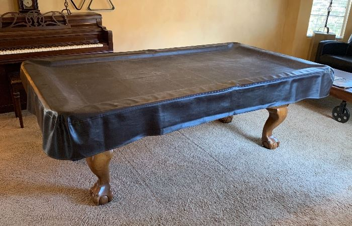 7ft Oak Claw Foot Pool/Billiard Table BLUE Felt (PRICED WITH Professional MOVING) 31.5x 49.5x89in HxWxD