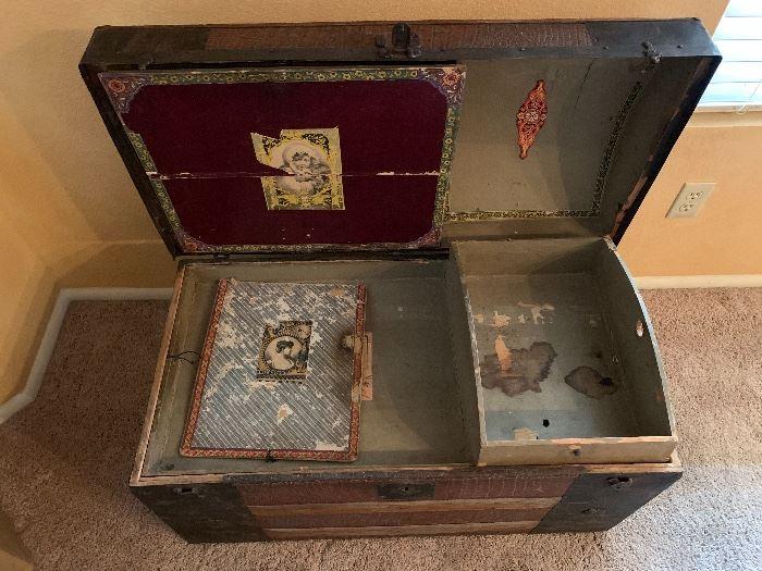 Antique Dome Top Alligator Print Trunk23x34x18inHxWxD