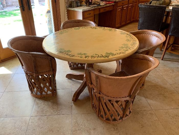 ▪	4 Mexican Equipale Pigskin Leather Chairs	30x24x21 Seat: 17in	HxWxD 	▪	Hand Painted Dining Room Table	48in Diameter x 20in H