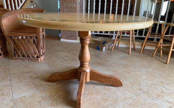 Hand Painted Dining Room Table	48in Diameter x 20in H