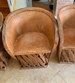 4 Mexican Equipale Pigskin Leather Chairs	30x24x21 Seat: 17in	HxWxD