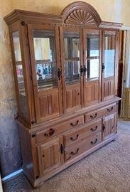 Grand Canyon SFC Whitewash Pine China Cabinet Display Case87x68x16.5 HxWxD