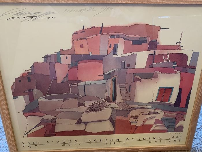 *Signed* Sari Staggs Native American Village Double signed framed Print	28x24in