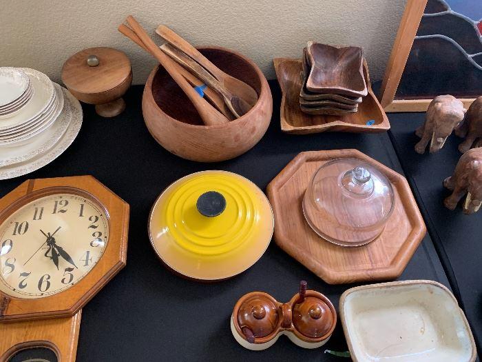 5 Piece Wood Bowl Salad Set  ▪Good Wood Teak Salad Bowl  ▪Oregon Myrtlewood Pedestal Cover Bowl