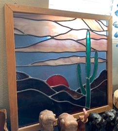 Stained glass Saguaro/Sunset Panel	23x22in