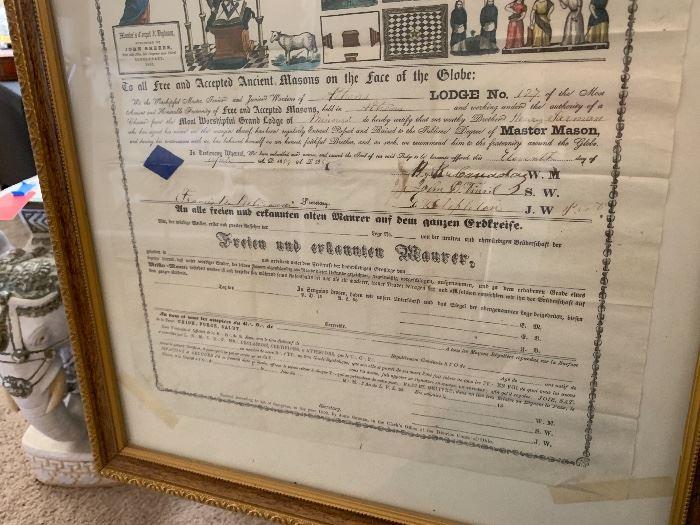1857 John Shearer Framed Mason Diploma