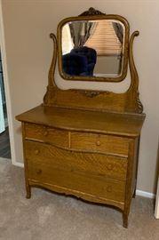 Antique Quarter Sawn Oak Dresser w/ Mirror33.5 (+36 mirror) 42x21inHxWxD