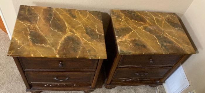 2 Faux Marble Top Dark Wood Nightstands PAIR26x24x18inHxWxD