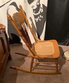 Oak Cane Rocking Chair38x13x31inHxWxD
