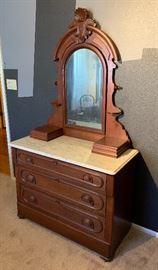 Antique Marble Top Walnut Empire Dresser w/ Mirror32 (+44 Mirror) 42x20in HxWxD