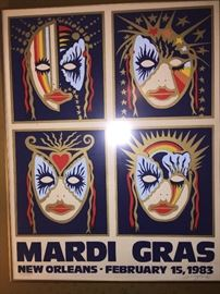signed and framed New Orleans Mardi Gras poster--we have Mardi Gras tonnage