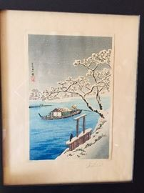 gorgeous framed Japanese woodblock