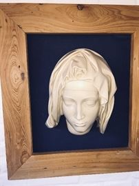 gorgeous large carved Madonna in a carved Cypress frame