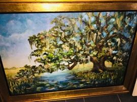 """43"""" by 32"""" original oil on canvas by Rena Derieg, a contemporary of artist George Rodrigue"""