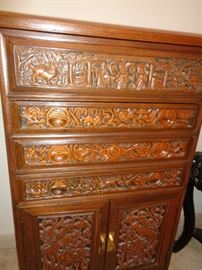 Carved Teakwood Silver Chest