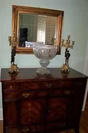 Sideboard with cut glass punch bowl
