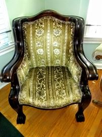 """Truly a great  mid to late 1800's """" Empire"""" chair and notice the beautiful solid Mahogany wood frame with claw feet"""