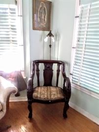 Mid to late 1800's  Empire chair with beautiful scrolled arms. What  true find!