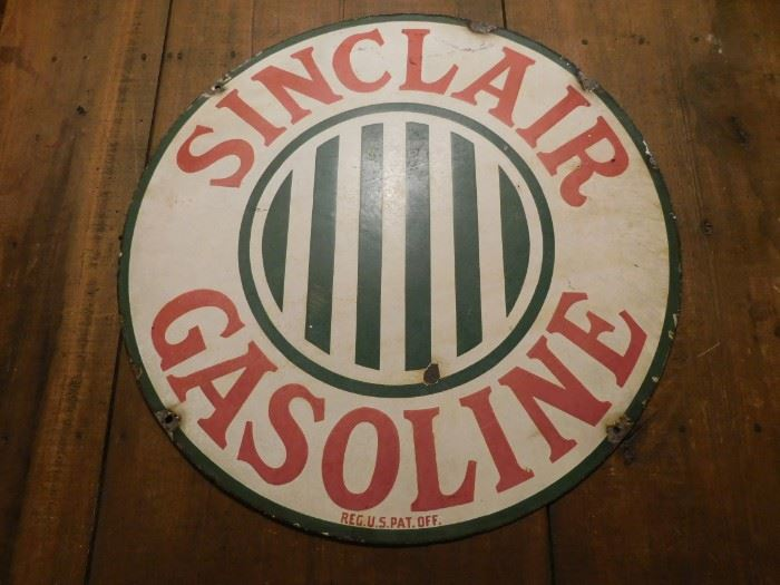 """Early Porcelain 24"""" Sinclair Gasoline Sign(Double Sided)"""