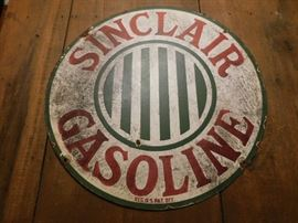 "Untouched 24"" Sinclair Porcelain Gasoline Sign"