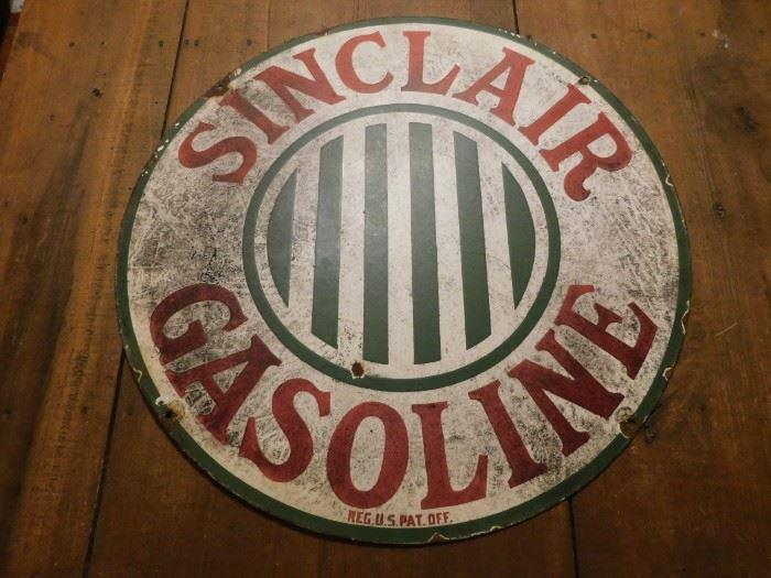 """Untouched 24"""" Sinclair Porcelain Gasoline Sign"""