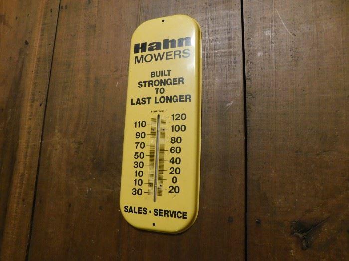 Vintage Metal Hahn Mowers Advertising Thermometer