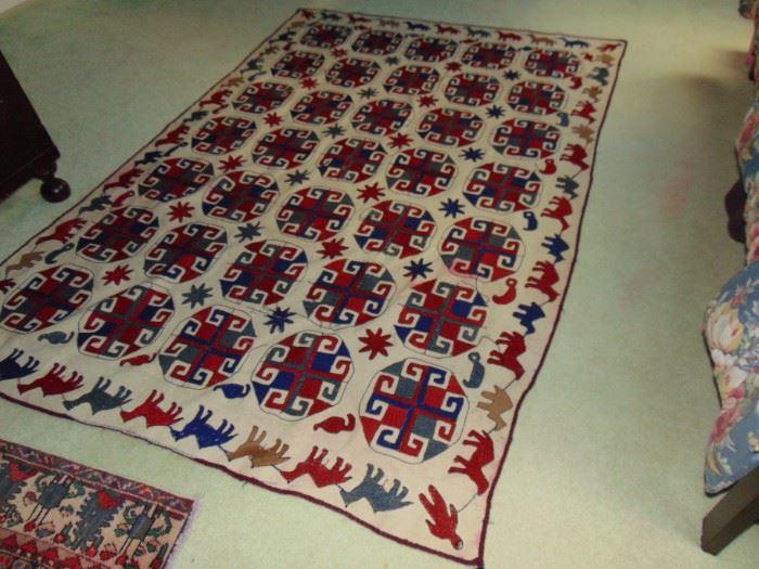 Children's handmade Persian carpet.  5 X 7.  Antique.