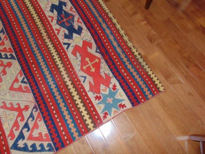 Antique 5 X 7 handmade Uzbek carpet.  Rare because of the color pattern.