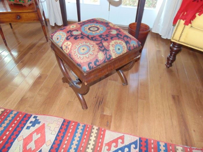 Antique mahogany vanity stool.  Updated fabric.