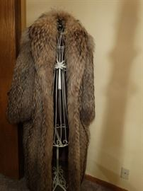 Kneeter full length Asian Raccoon fur coat