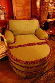 Down filled chair and a half with ottoman
