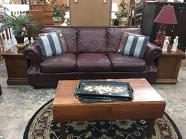 Leather Couch ( some damage on bottom arm)