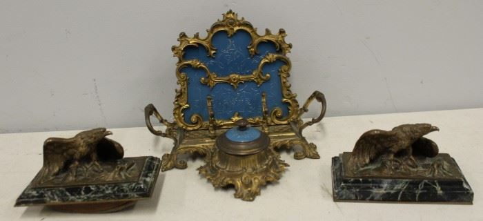 A Marionnet Bronze Eagle Desk Items More
