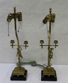 A Pair of Brass Mercury Form Lamps
