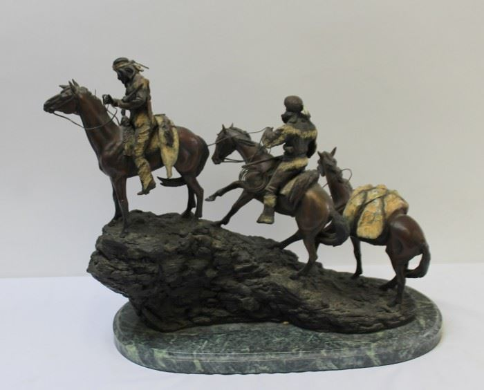 After Remington Large Patinated and Bronze