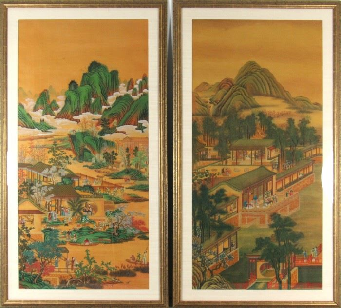 After Lang Shining Pair of Landscape Paintings