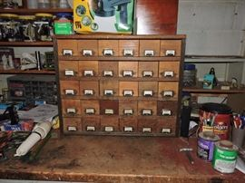 Country store storage bins- wood face metal drawers