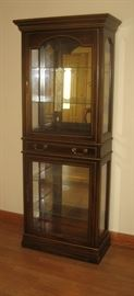Lighted upper & lower display cabinet with center drawer