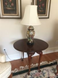 solid  cherry  table  and  beautiful lamp