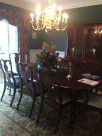 solid cherry table  and 8 chairs