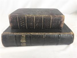 Jeremiah Randall/  Grandison Warner family Bible  19th century and smaller 1835 bible. Includes pages from an older bible  early 19th century.