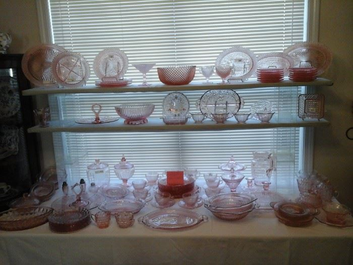 Depression glass  patterns Windsor Diamond,  Mayfair, Pinwheel, Miss America,  Optic, Petticoat,  Vertical Rib,  Coronation,  Button and Bows, Cabbage Rose and more.  and Bows,