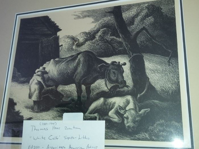 "Thomas Hart Benton ""White Calf"" Signed Litho"