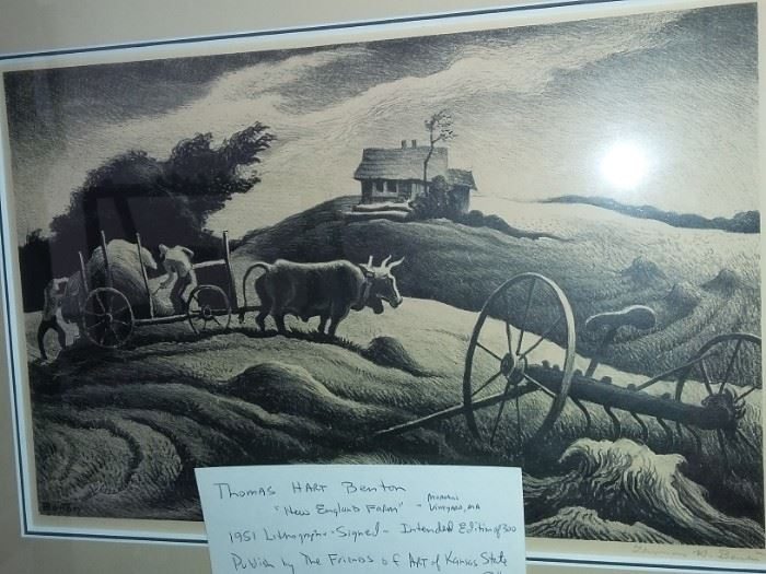 "Thomas Hart Benton ""New England Farm"" Signed 1951 Lithograph"